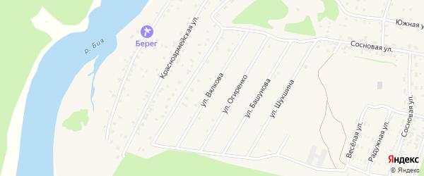 Улица Вялкова на карте села Турочак с номерами домов