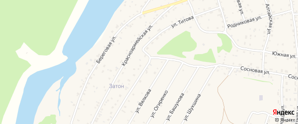 Улица Титова на карте села Турочак с номерами домов