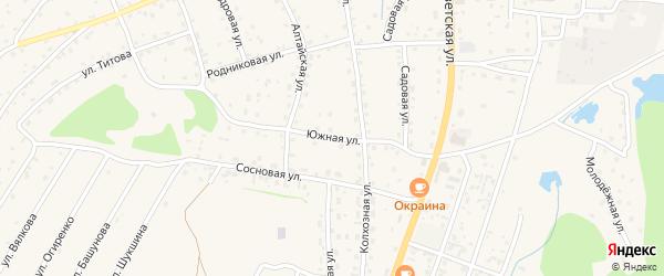 Южная улица на карте села Турочак с номерами домов
