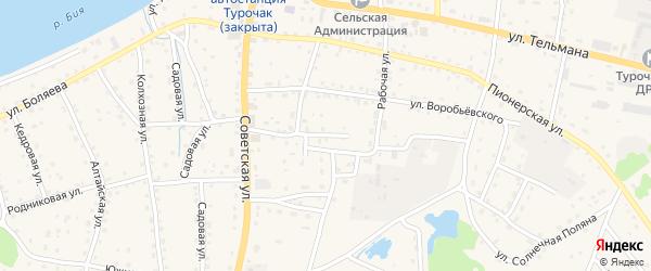 Совхозный переулок на карте села Турочак с номерами домов
