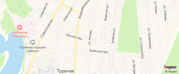Улица Чехова на карте села Турочак с номерами домов