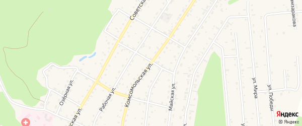 Комсомольская улица на карте села Турочак с номерами домов
