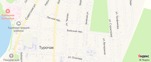 Бийский переулок на карте села Турочак с номерами домов