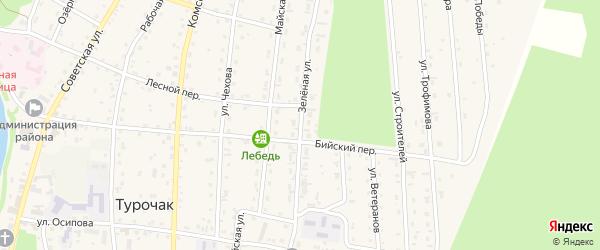 Зеленая улица на карте села Турочак с номерами домов