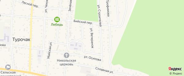Улица Ветеранов на карте села Турочак с номерами домов