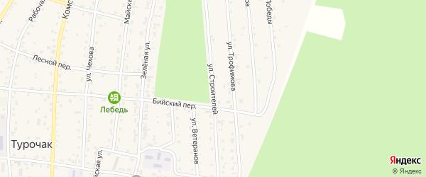 Улица Строителей на карте села Турочак с номерами домов