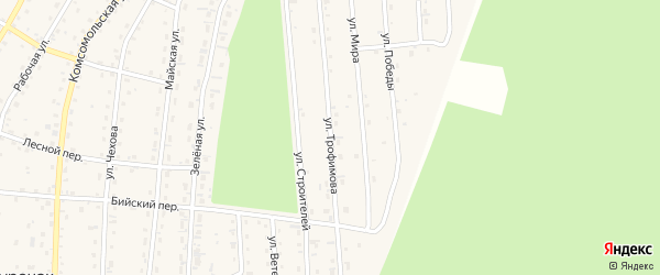 Улица Трофимова на карте села Турочак с номерами домов