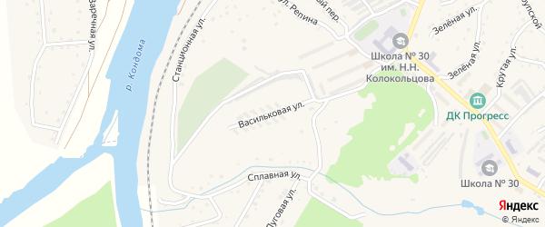 Васильковая улица на карте садового некоммерческого товарищества Малиновки с номерами домов