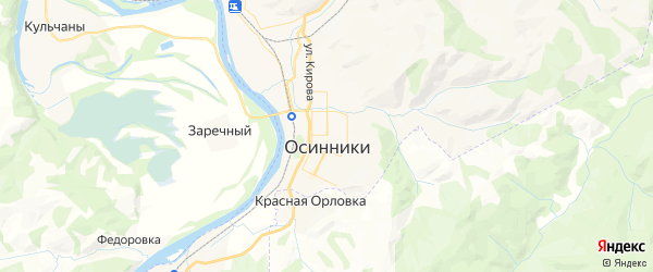 Карта Осинники с районами, улицами и номерами домов