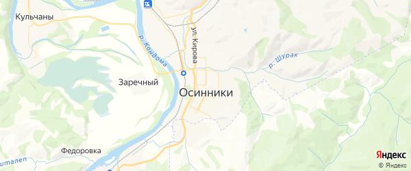 Карта Осинники с районами, улицами и номерами домов: Осинники на карте России