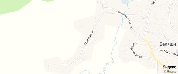 Заречная улица на карте села Тобелера с номерами домов