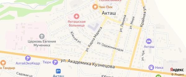 Улица К.Маркса на карте села Акташа с номерами домов
