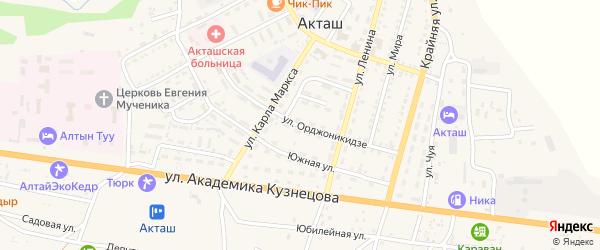 Улица Орджоникидзе на карте села Акташа с номерами домов