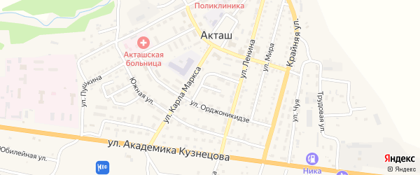 Улица Космонавтов на карте села Акташа с номерами домов