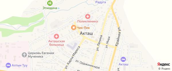Улица Академика Кузнецова на карте села Акташа с номерами домов