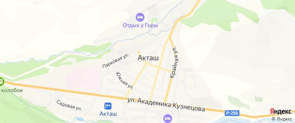 Карта села Акташа в Алтае с улицами и номерами домов