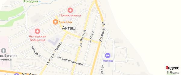 Улица Мира на карте села Акташа с номерами домов