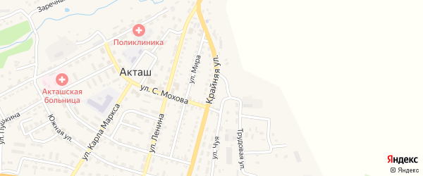 Крайняя улица на карте села Акташа с номерами домов