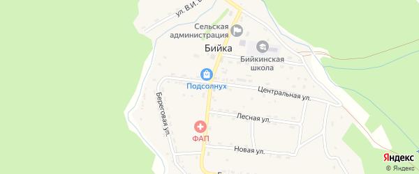 Набережная улица на карте села Бийки с номерами домов