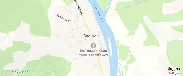 Карта села Балыкча в Алтае с улицами и номерами домов