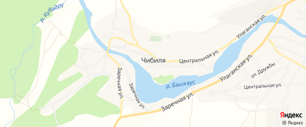 Карта села Чибили в Алтае с улицами и номерами домов