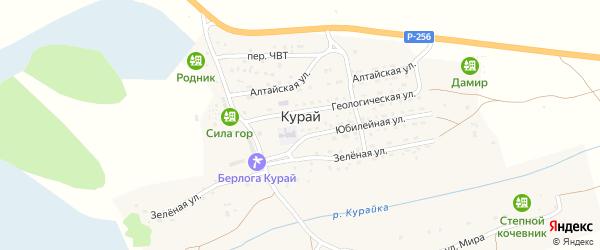 Зеленая улица на карте села Курая с номерами домов