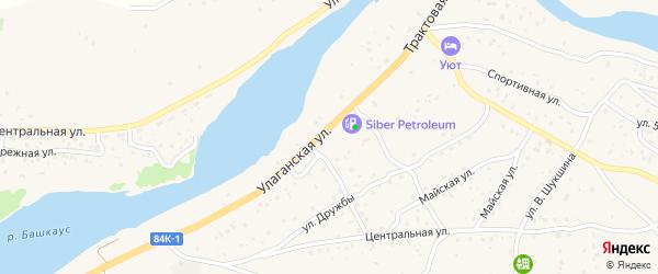 Трактовая улица на карте села Улагана с номерами домов