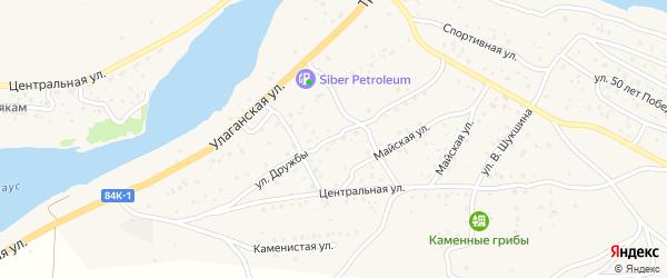 Улица Дружбы на карте села Улагана с номерами домов