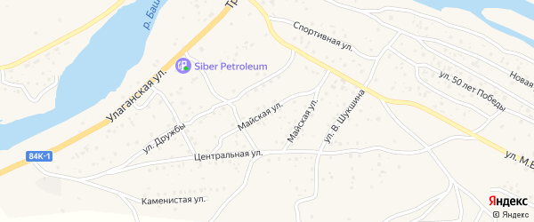 Майская улица на карте села Улагана с номерами домов