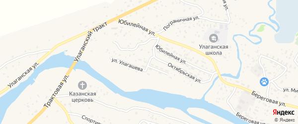 Октябрьская улица на карте села Улагана с номерами домов