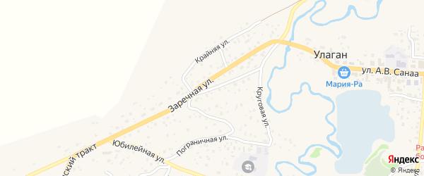 Заречный переулок на карте села Улагана с номерами домов