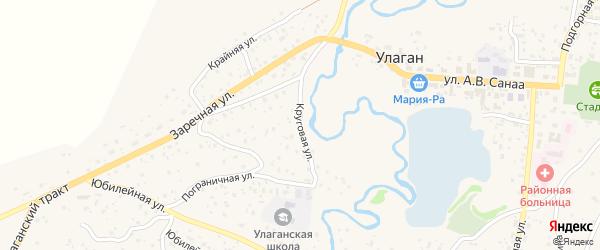 Круговая улица на карте села Улагана с номерами домов