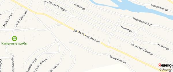 Улица М.В.Карамаева на карте села Улагана с номерами домов