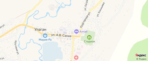 Социалистическая улица на карте села Улагана с номерами домов