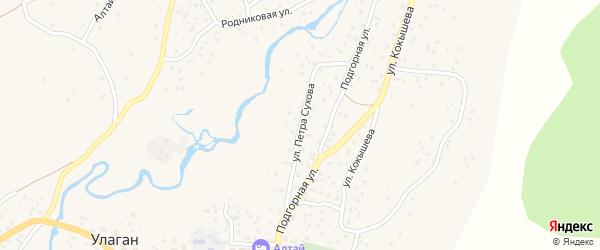 Улица Петра Сухова на карте села Улагана с номерами домов