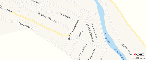 Улица С.П.Кончубаева на карте села Улагана с номерами домов