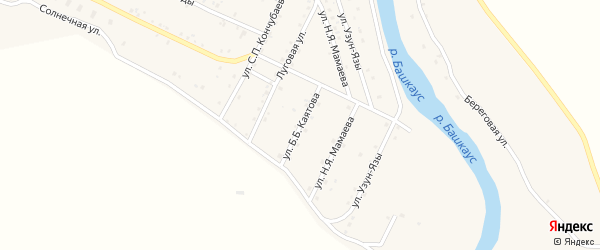 Улица Б.Б.Каятова на карте села Улагана с номерами домов