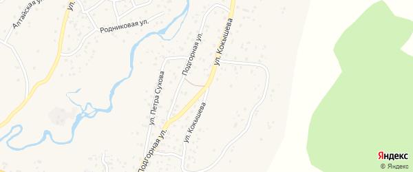 Улица Кокышева на карте села Улагана с номерами домов