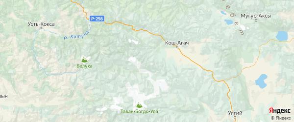 Карта Коша-Агачского района республики Алтай с городами и населенными пунктами