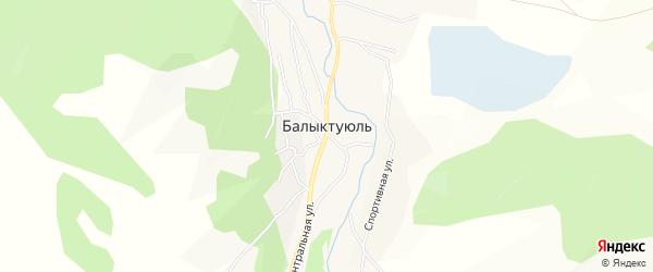 Карта села Балыктуюля в Алтае с улицами и номерами домов