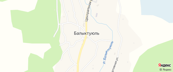 Крайний переулок на карте села Балыктуюля с номерами домов