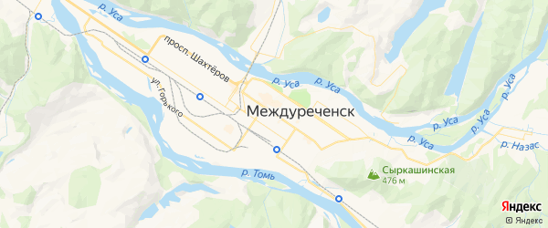 Карта Междуреченска с районами, улицами и номерами домов