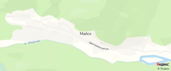 Карта села Майска в Алтае с улицами и номерами домов