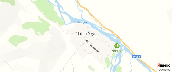 Карта села Чагана-Узуна в Алтае с улицами и номерами домов