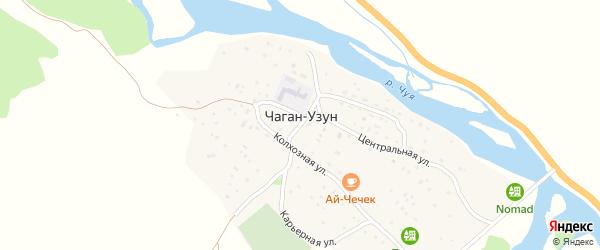 Центральная улица на карте села Чагана-Узуна с номерами домов