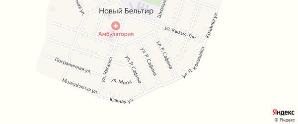 Улица Р. Сафина на карте села Нового Бельтира с номерами домов