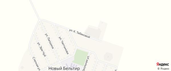 Улица К.Тебековой на карте села Нового Бельтира с номерами домов