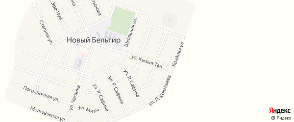 Улица Кызыл-Тан на карте села Нового Бельтира с номерами домов