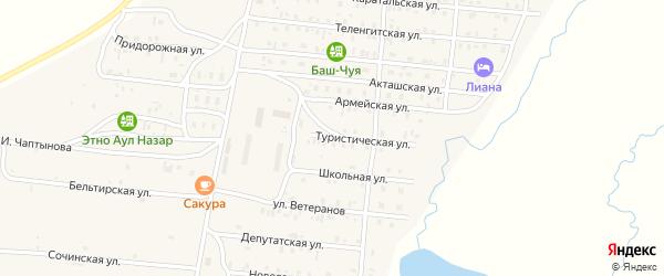 Туристическая улица на карте села Коша-Агача с номерами домов