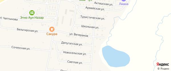 Улица Ветеранов на карте села Коша-Агача с номерами домов